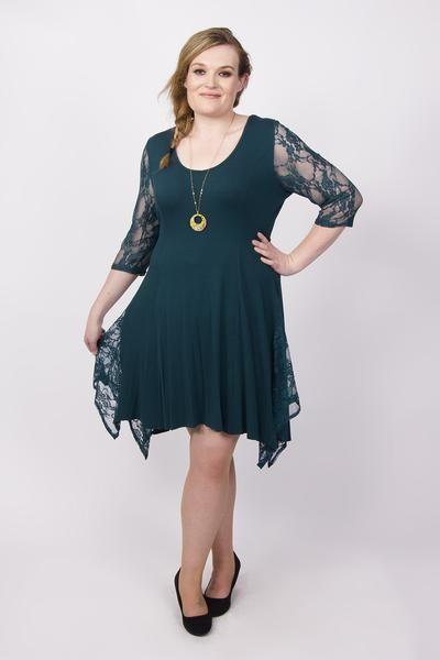 3fc641077be Plus Size Scarlett Jo Lace Contrast Hanky Hem Dress Jewel Teal 18 20 22 24  26