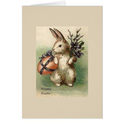 Happy Easter Bunny Rabbit Greeting Card - holiday card diy
