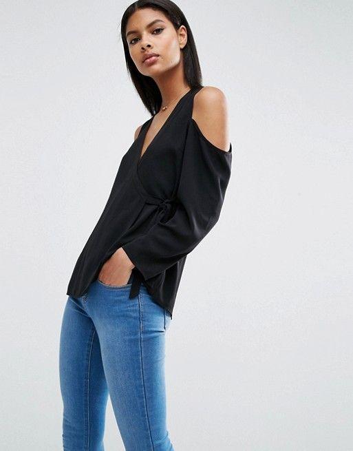 27b42e882812 Wrap Blouse with Cold Shoulder   Wish list   Wrap blouse, Blouse, Asos