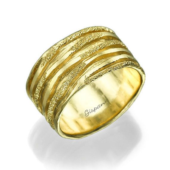 14k yellow gold band with glitter texture luxury quality and beauty in one ring - The One Ring Wedding Band