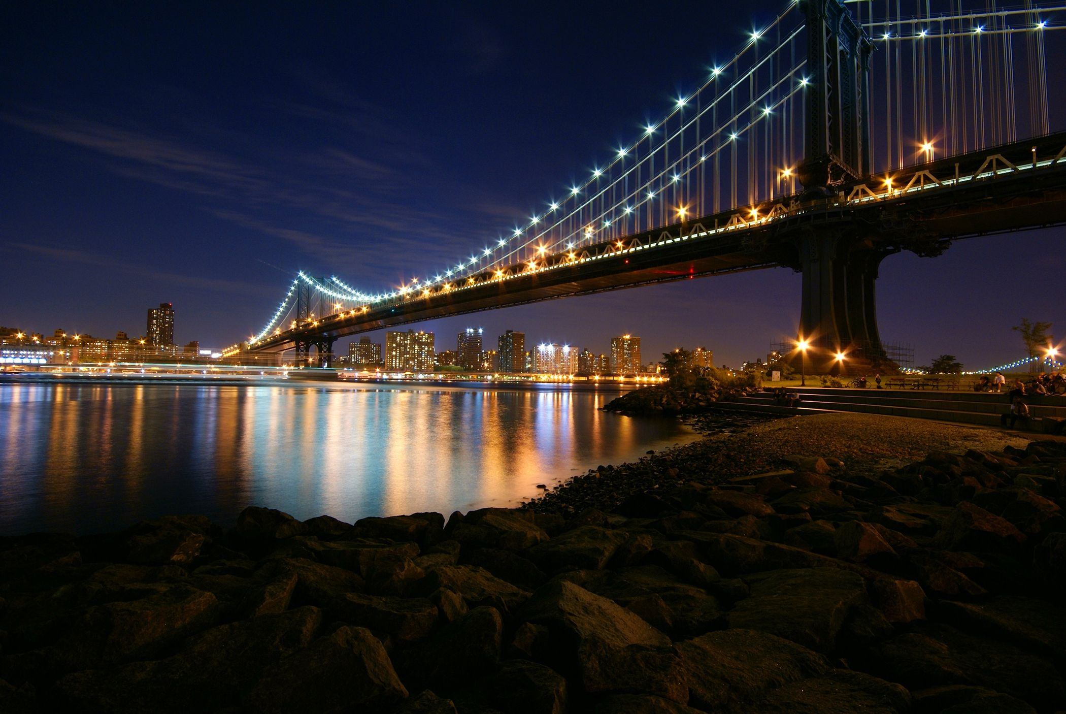 city lights and bridges Manhattan at Night Manhattan