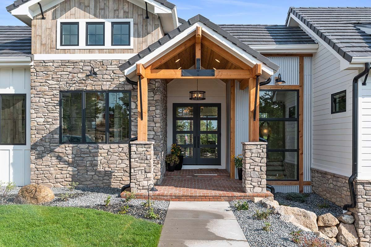 Tour This Absolutely Gorgeous Mountain Style Home In Colorado Springs Mountain Home Exterior Modern Farmhouse Plans Parade Of Homes
