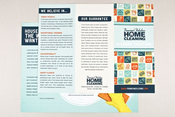 How to create a professional brochure plus 40 superb templates - house cleaning flyer template