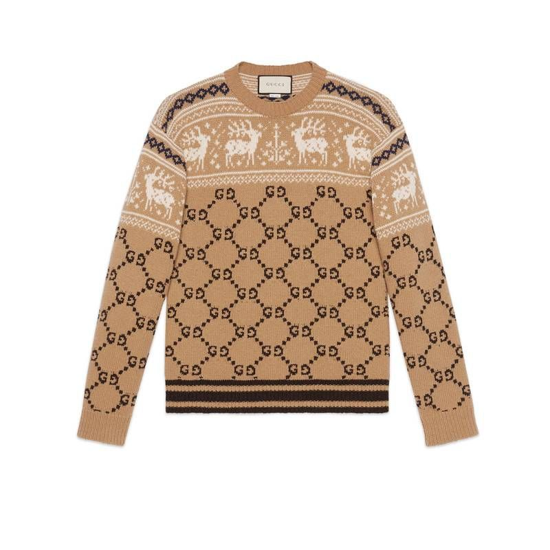 3c2d0a78f9c GUCCI Gg And Reindeer Jacquard Wool Sweater