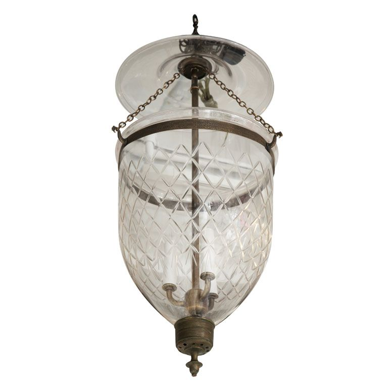 Antique Bell Jar With Diamond Etchings From A Unique Collection Of And Modern Chandeliers Pendants At