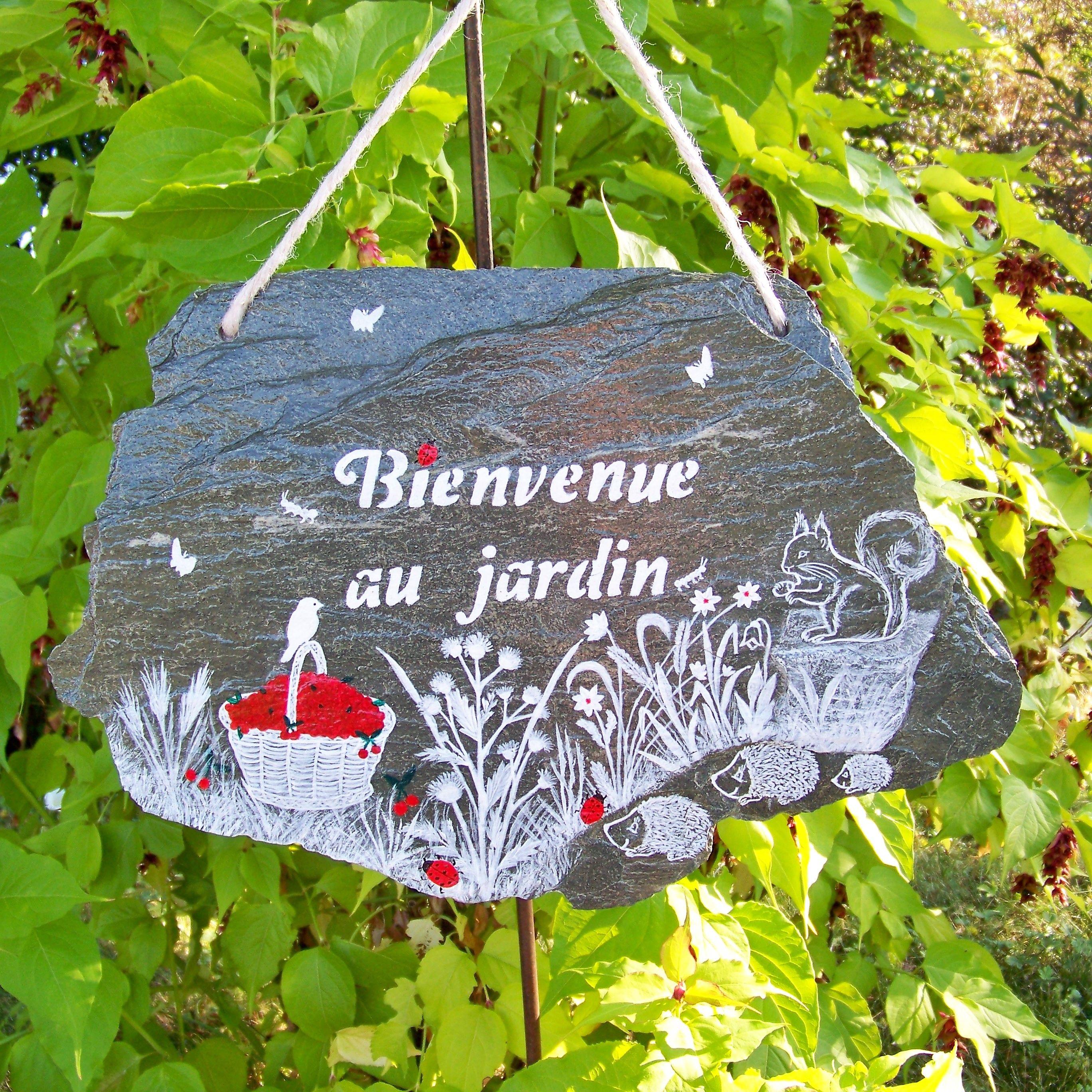 Ardoise Personnalisee Peinte Main Bienvenue Decoration De Jardin Plaque De Maison Numero De Maison Artisanat By Cr Decoration Jardin Idees Jardin Jardins