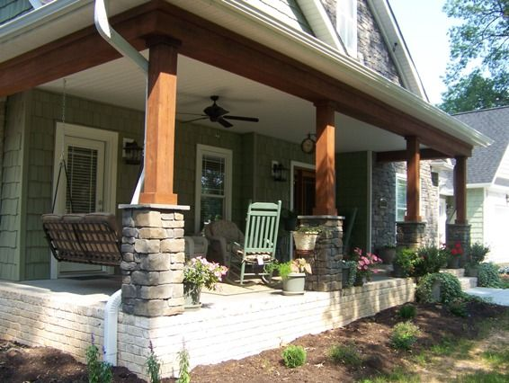 Craftsman Style Square Columns With Stone Bases Really Like The Natural Look To It