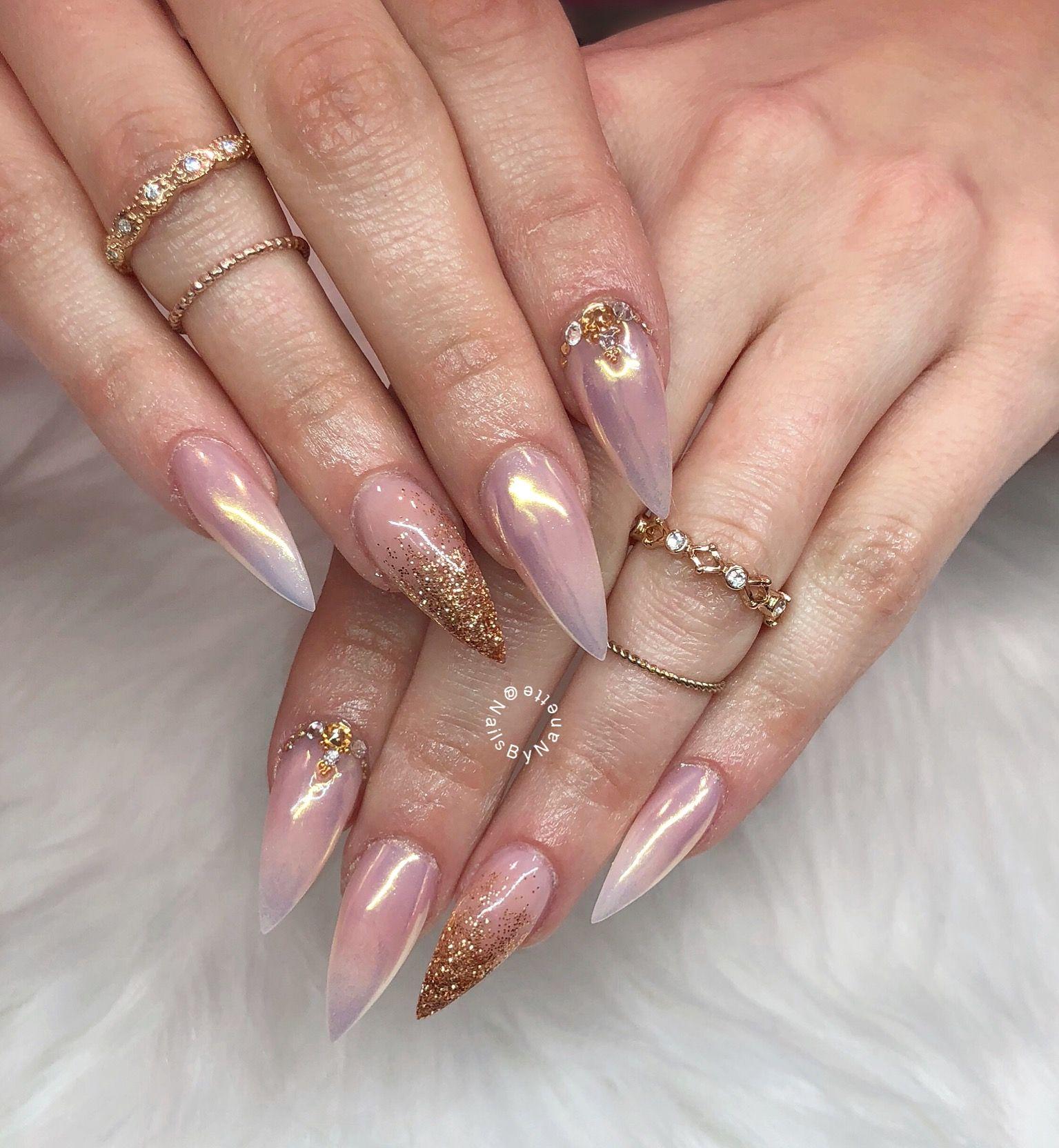 Chrome Nails Stiletto Nails Ombre Nails Wedding Nails