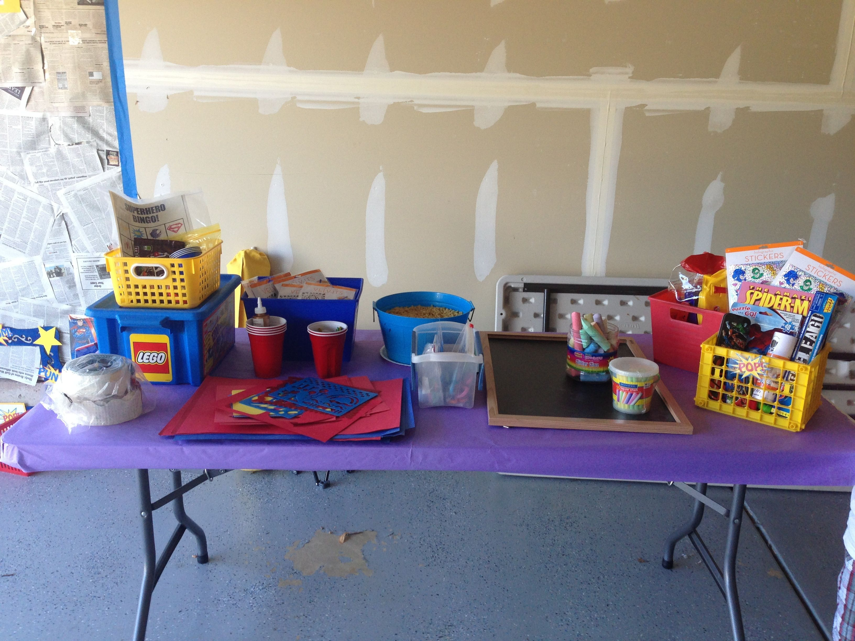Craft table for kids party