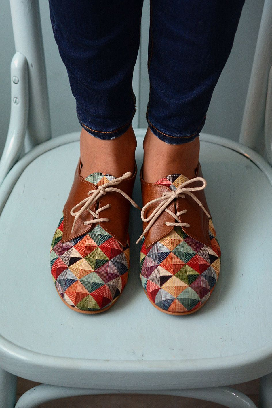 Multicolored Shoes Leather Shoes Oxford Flat Shoes Women