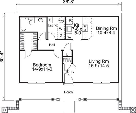 House Plan 5633 00164 Cabin Plan 809 Square Feet 1 Bedroom 1 Bathroom In 2021 One Bedroom House Plans One Bedroom House 1 Bedroom House