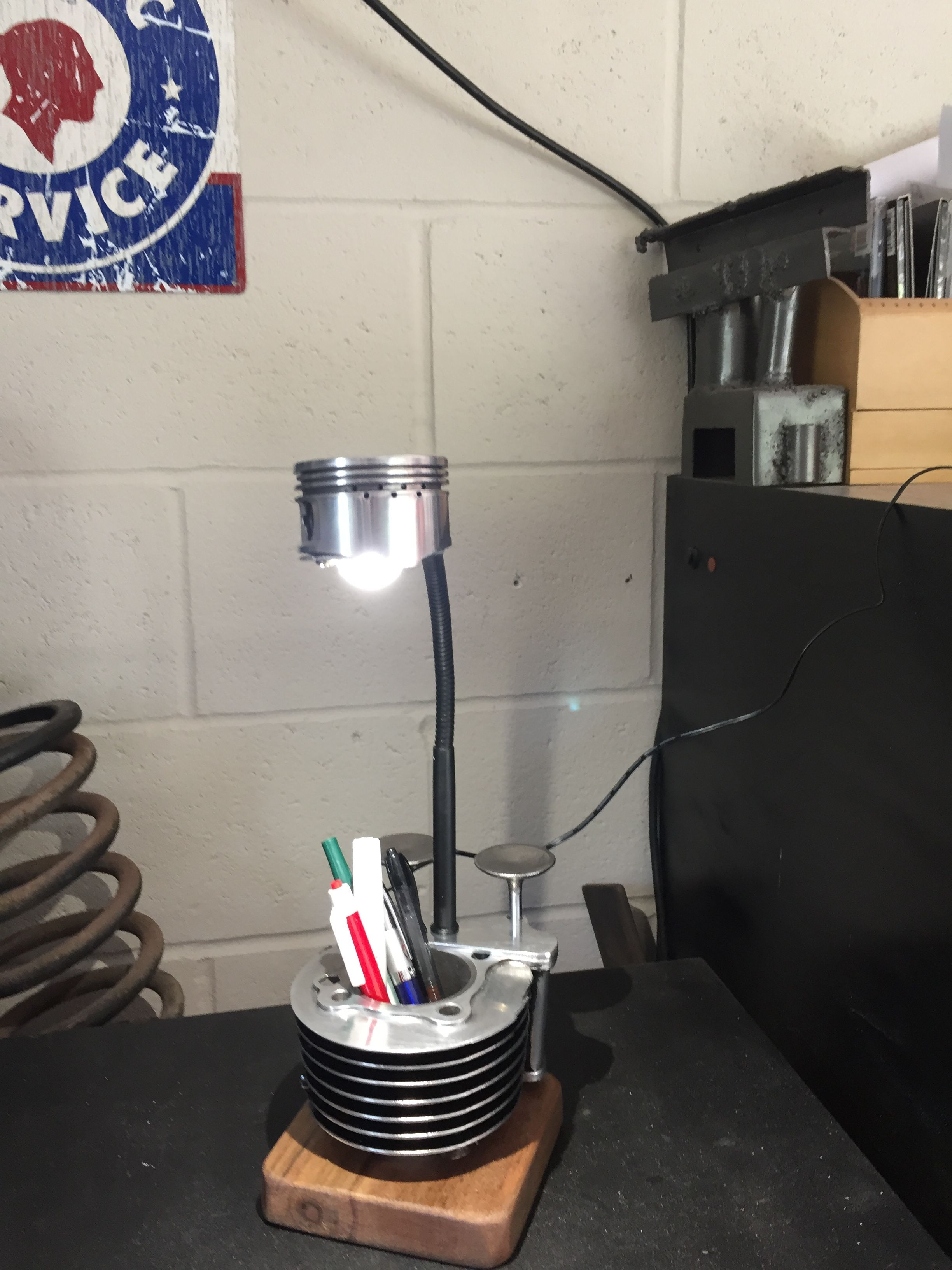 The Engine Room Design: Desk Lamp Made From Motorcycle Engine Parts. SOLD
