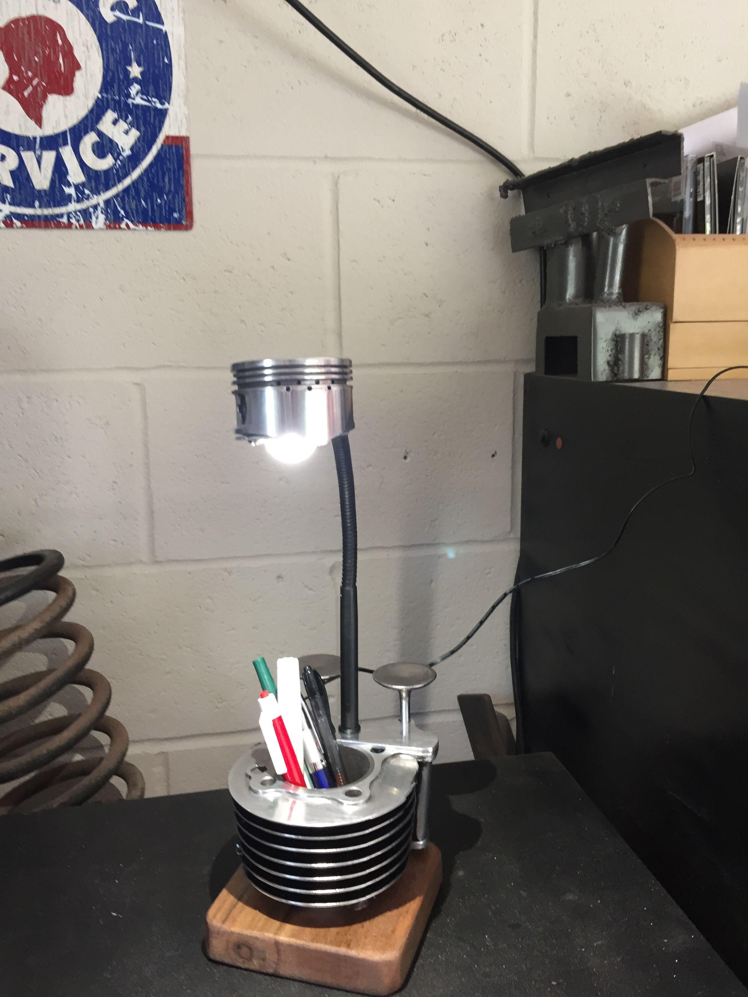 Desk Lamp Made From Motorcycle Parts Automotive Decor Car Parts Decor Car Part Furniture