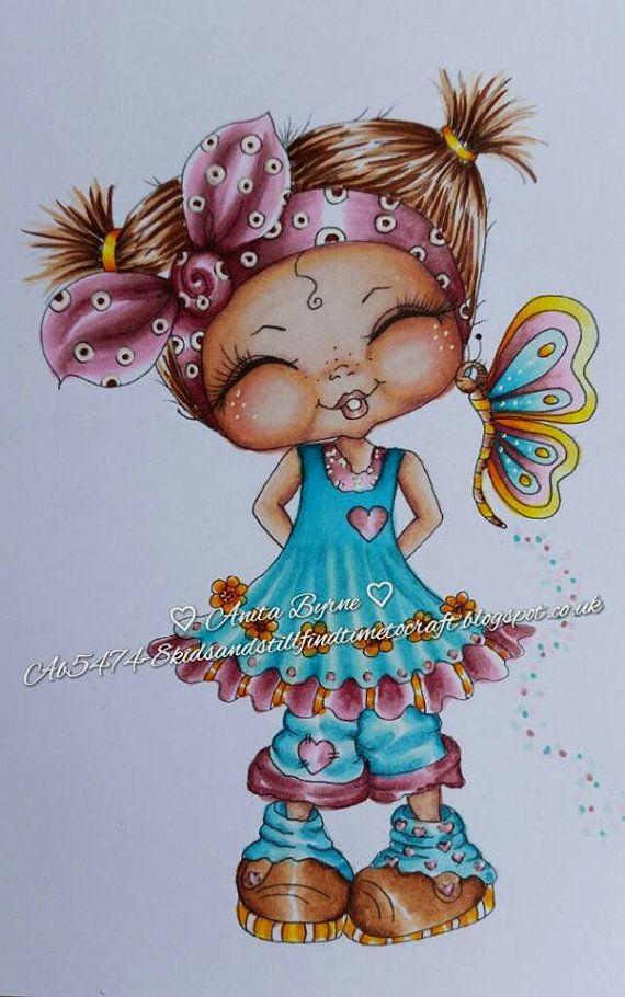 DESCARGA instantánea Digital Digi sellos ojo grande cabezona muñecas de lujo pantalones Bestie cosquillas Butterfly Kisses mis mejores amigas por Sherri Baldy