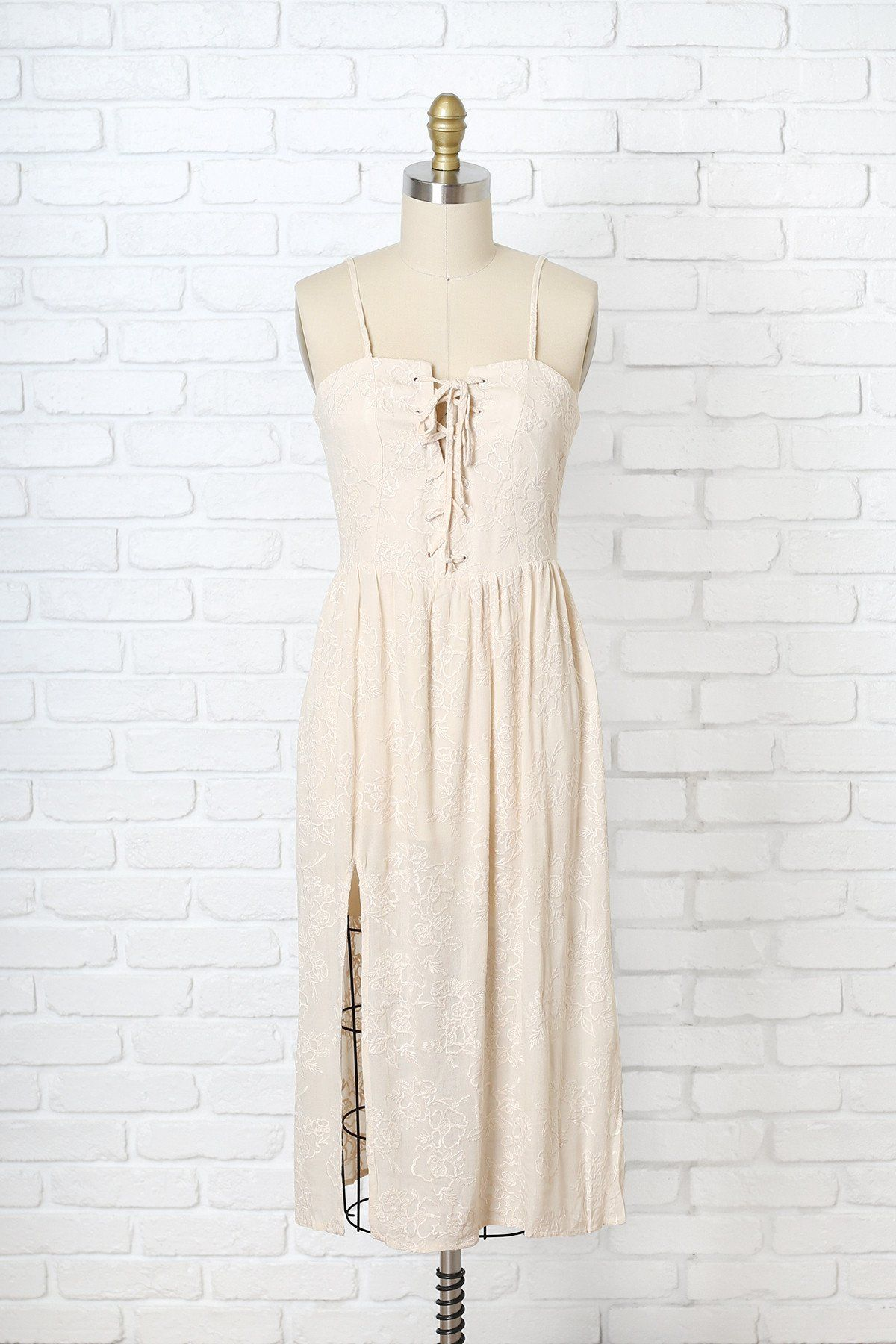 Cream Floral Embroidered Lace-Up Dress