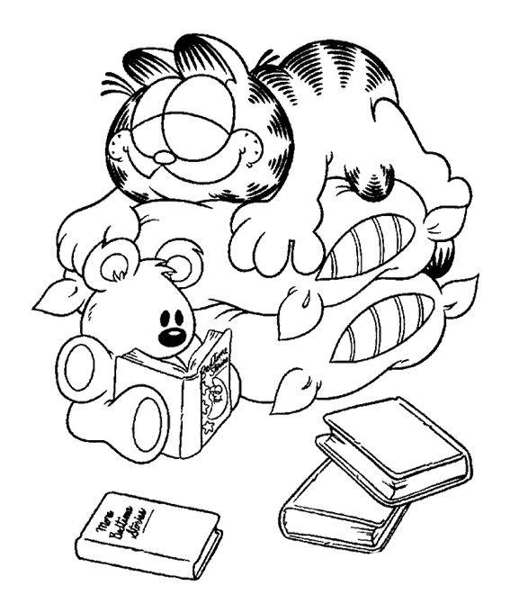 garfield sleeping slumbering coloring page