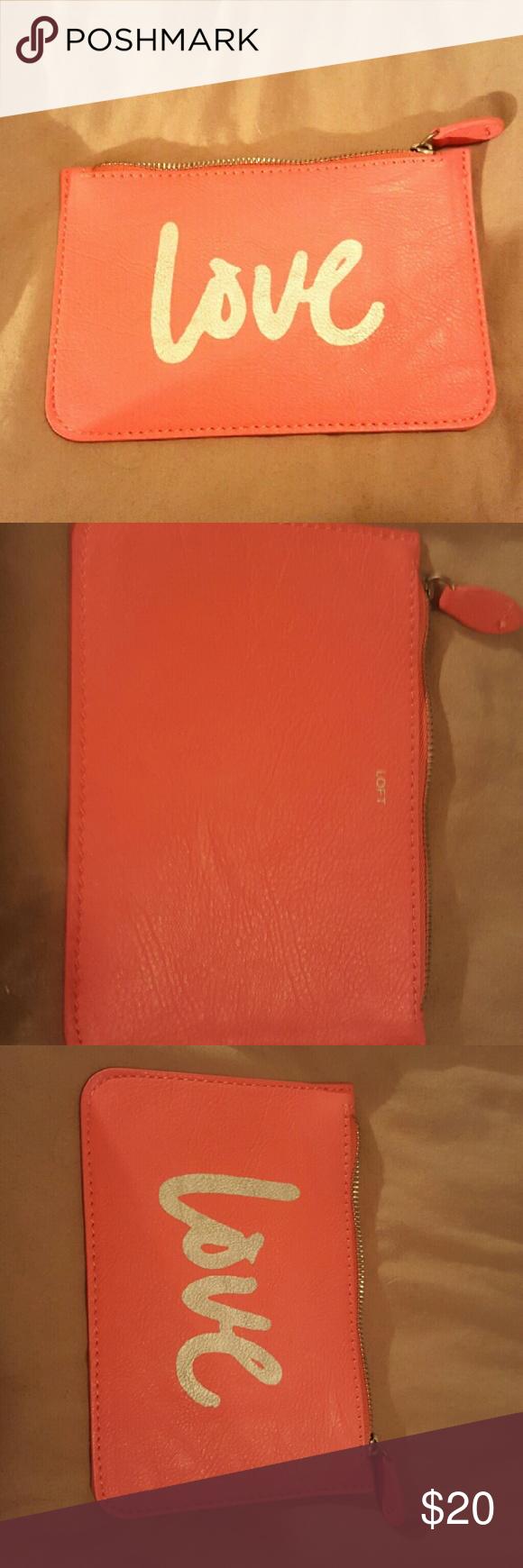 Orange Loft Love Card Holder Or Makeup Case Brand New Never Used Roughly 4x6 Offers Welcomed Loft Accessories Key Makeup Case Love Cards Key Card Holder