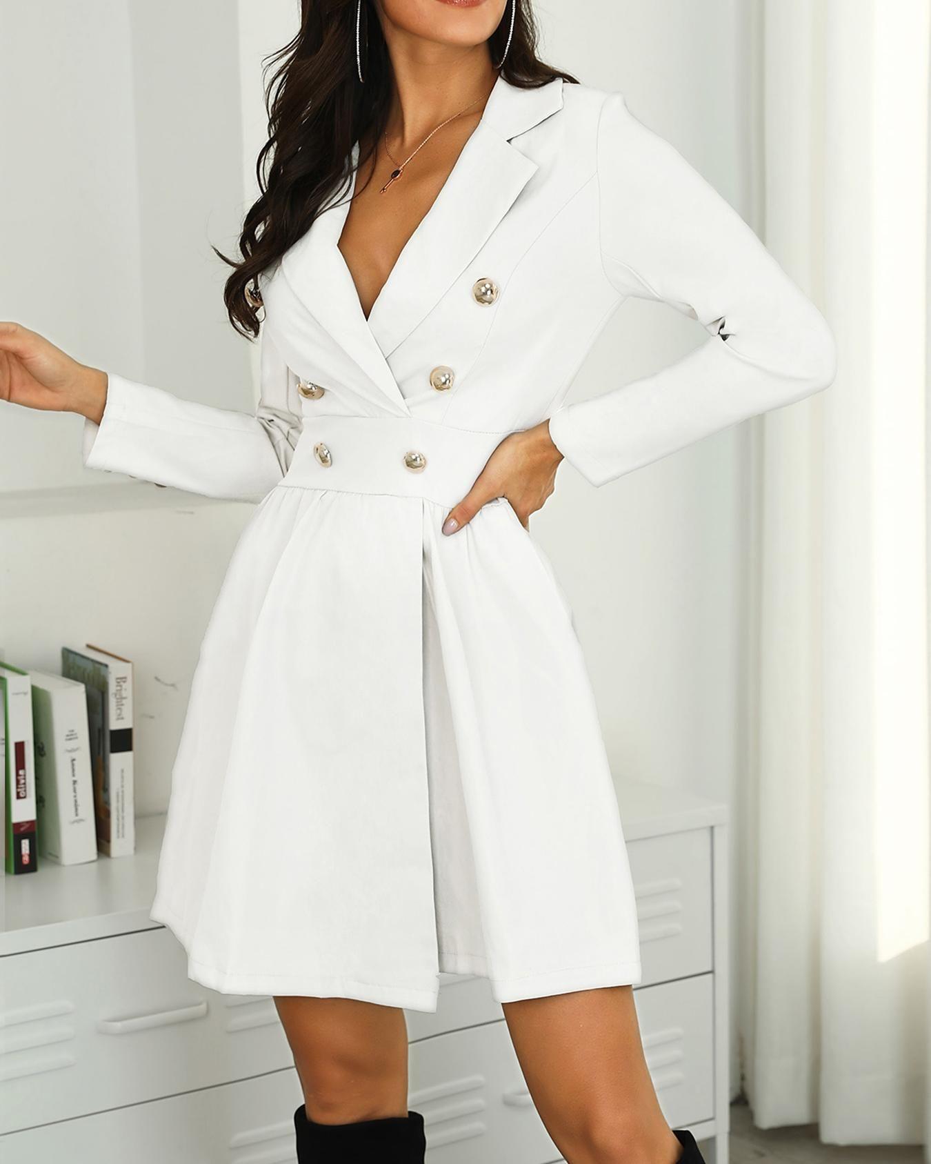 Long Sleeve Button Design Blazer Dress S M L Xl 37 99 Blazer Dress Long Sleeve Dress Fashion Outfits [ 1687 x 1350 Pixel ]