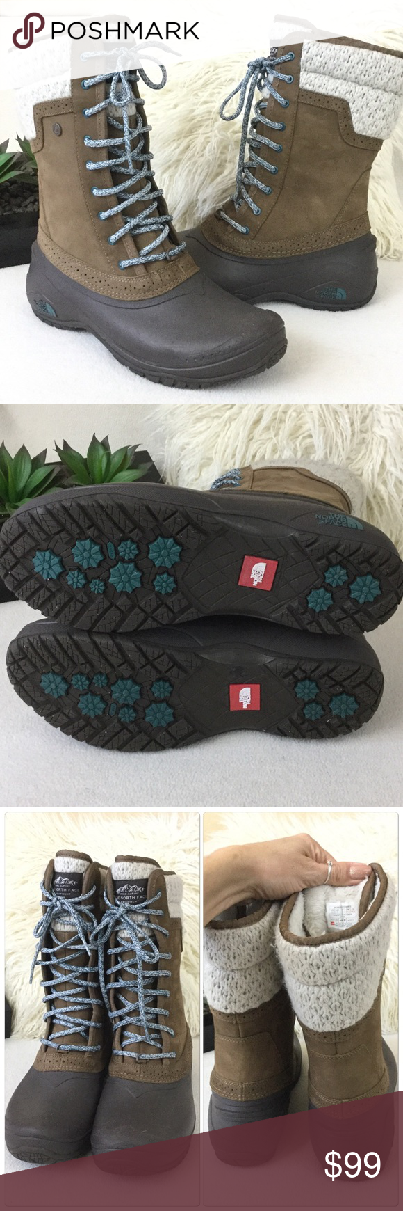 """The North Face Like New winter boots The North Face Like New winter boots. Wonderful condition worn once. Keep you warm and dry through the elements   Measures 11.5"""" tall and insoles Aprox 10.5"""" long. Women's size 11. 516-570 The North Face Shoes Winter & Rain Boots"""