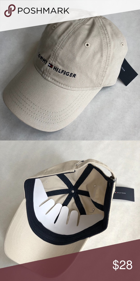 111751cc561 Tommy Hilfiger Khaki Baseball Cap Hat Flag Logo Comfort and style make this Tommy  Hilfiger hat