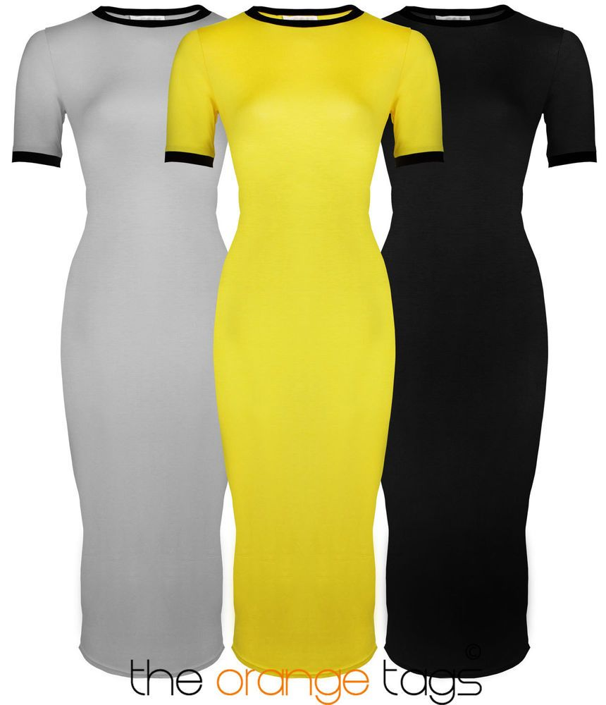 Black dress yellow accessories - Details About New Womens Ladies Short Sleeve Stretch Plain Bodycon Midi Maxi Dress 8 14