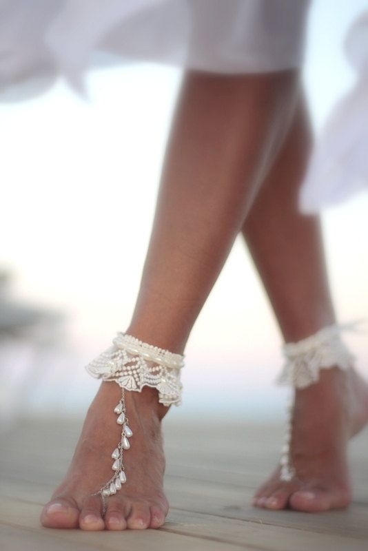 ff0e2fd49 Dance of the pearls with ivory frilly lace beach wedding by FULYAK #Etsy  ankle bracelet