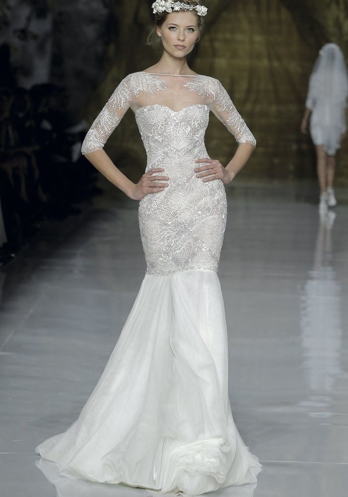 Atelier Pronovias Boat Neck Mermaid Wedding Dress Gown