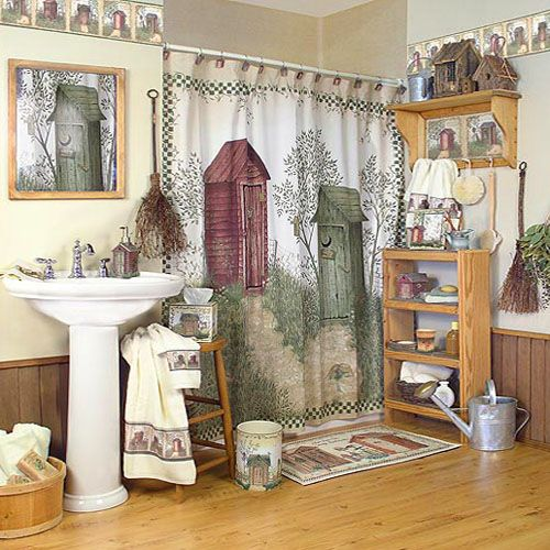 Outhouses shower curtain outhouse bathroom decor by for Outhouse bathroom ideas