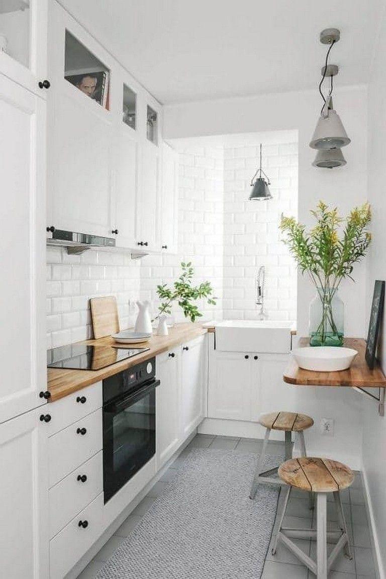 54 Simple Minimalist Small White Kitchen Ideas Small Apartment Kitchen Remodel Scandinavian Kitchen Design Small Apartment Kitchen