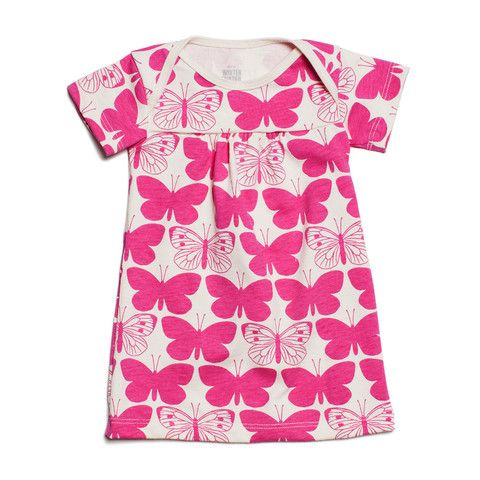 Short-Sleeve Rocking Horse Baby Dress - Butterflies Magenta