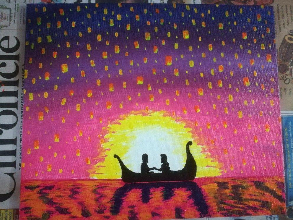 Tangled Painting Rapunzel And Eugene Beautiful Floating Lanterns Acrylic Paintings Tangled Painting Painting Tangled Floating Lanterns