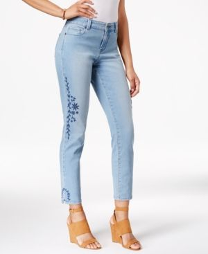 Style Co Petite Embroidered Calabasas Wash Skinny Jeans Only At Macy S Blue 6p Products