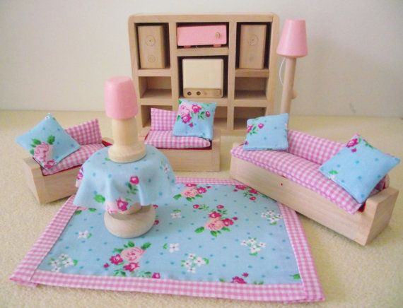 Wooden Dolls House Furniture For Living Room Set With Accessories Or Buy  Accessories Only