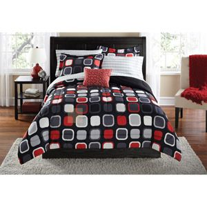 Mainstays Evans Geometric Bed In A Bag Coordinated Bedding Set Geometric Bedding Modern Comforter Red Bedding