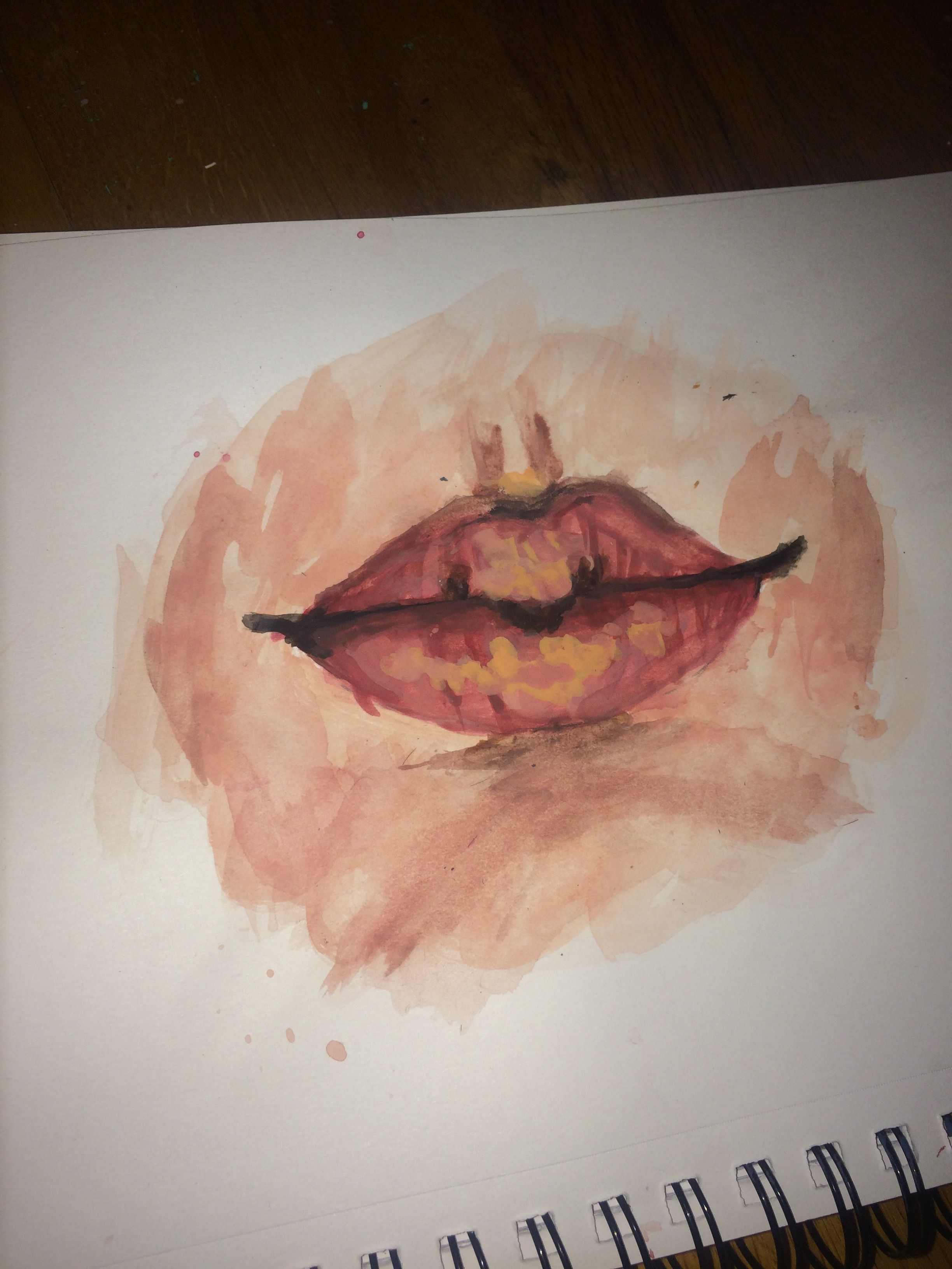 Art Painted Lips Made With Watercolors Painting Drawing Aesthetic Skin Artsy Artistic Tumblr Artsy Art Painting