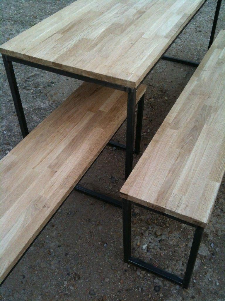 Table Et Bancs En Bois Et Acier By Madinpariss Meubles Et Deco