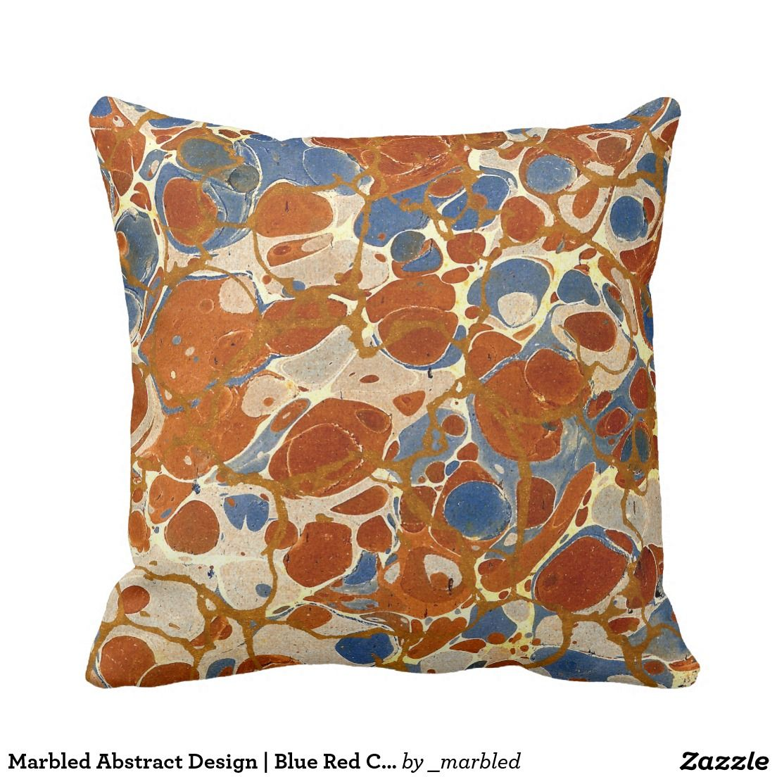 Decorative pillows with blue brown and yellow - Marbled Abstract Design Blue Red Creme Yellow Throw Pillows