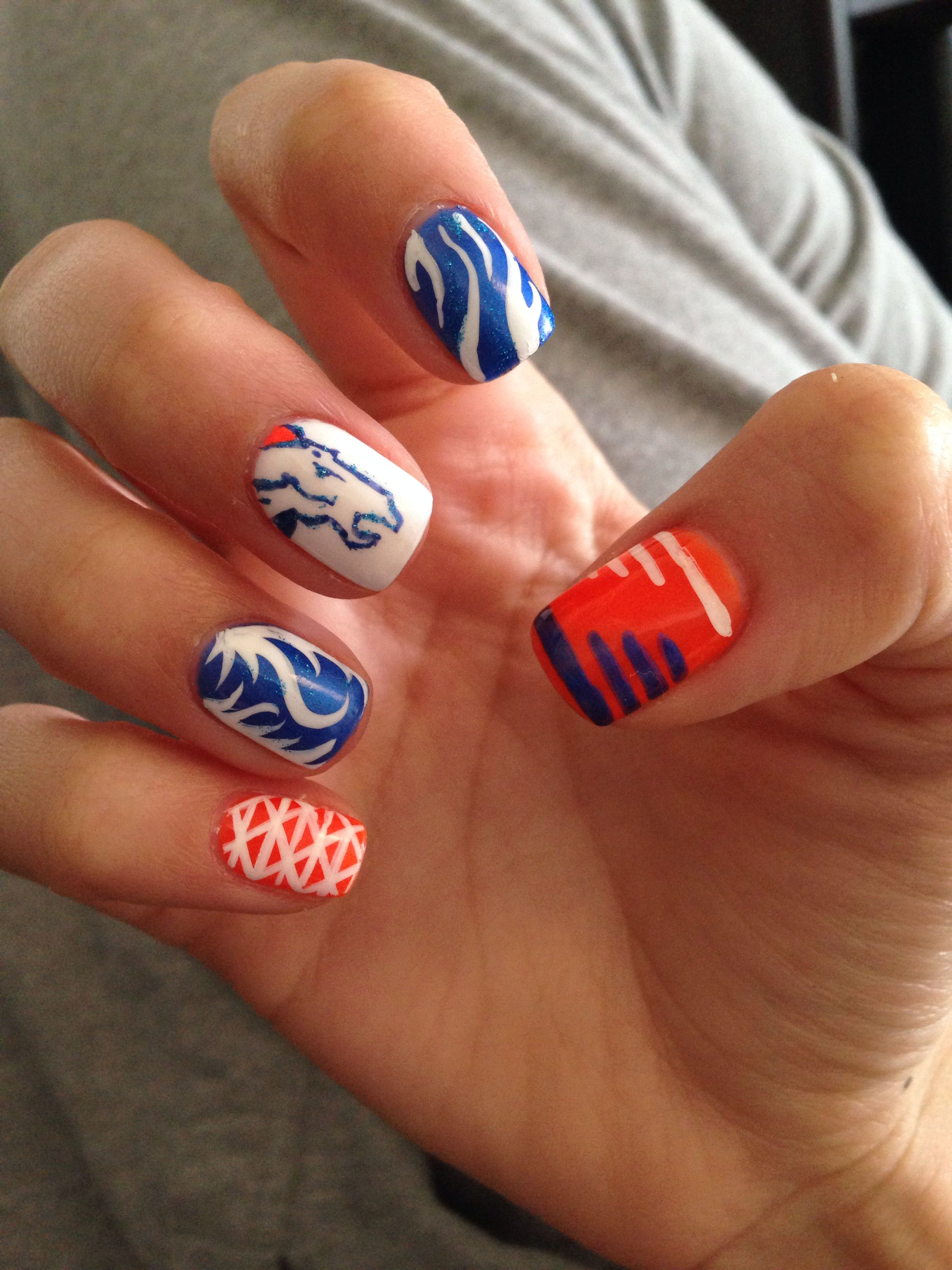 Super Bowl Denver bronco nails. Shellac. Sb48. | Nails | Pinterest ...