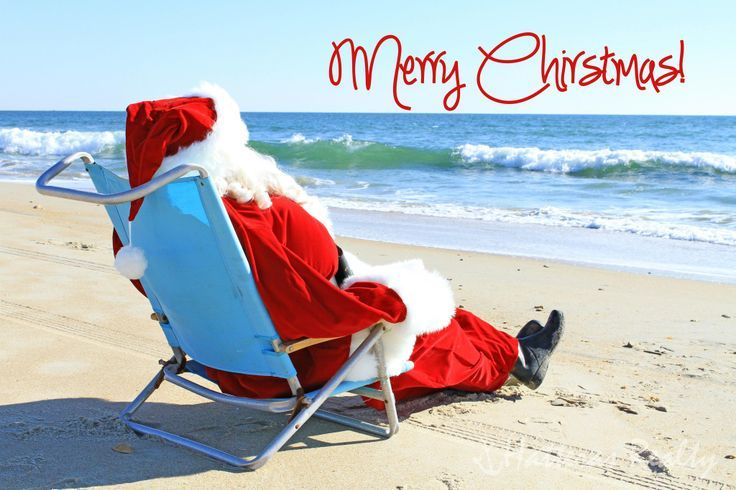 accb1455 Santa wishes you Merry Christmas from the beach in Florida ...