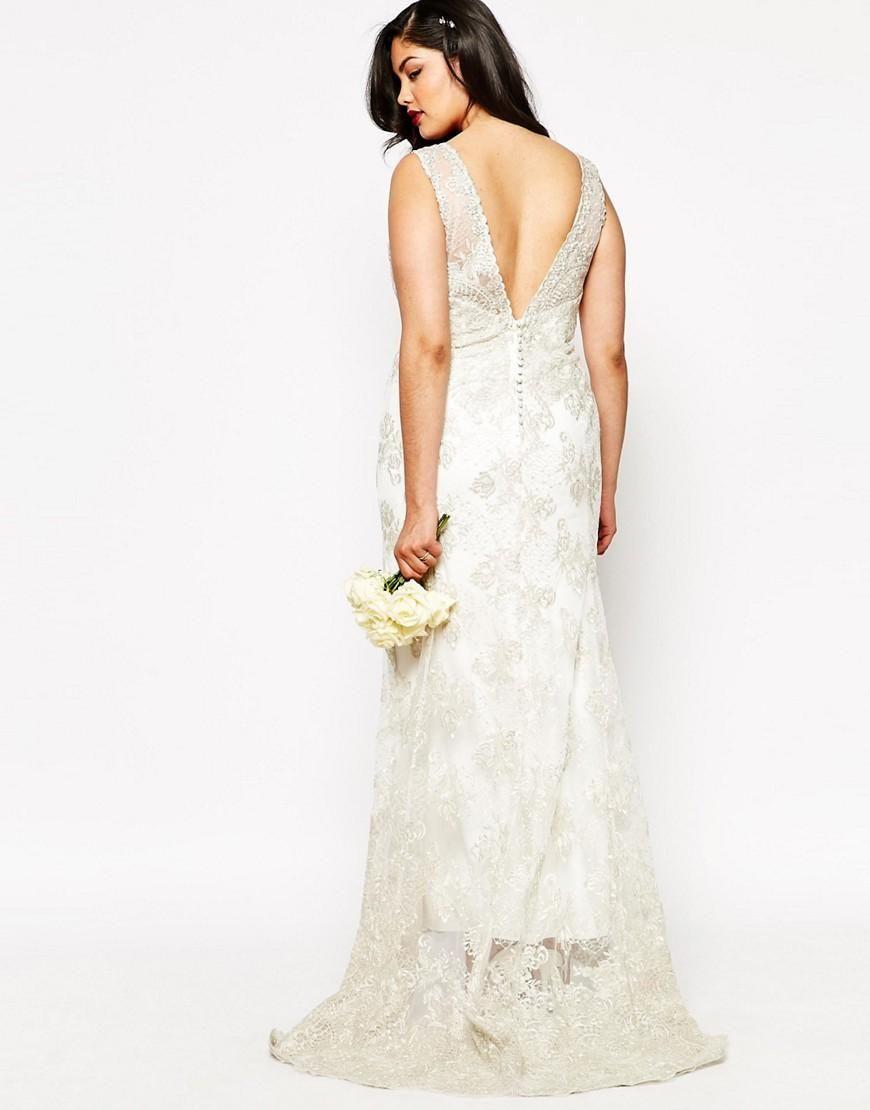 Asos curve asos curve bridal vintage lace button back fishtail