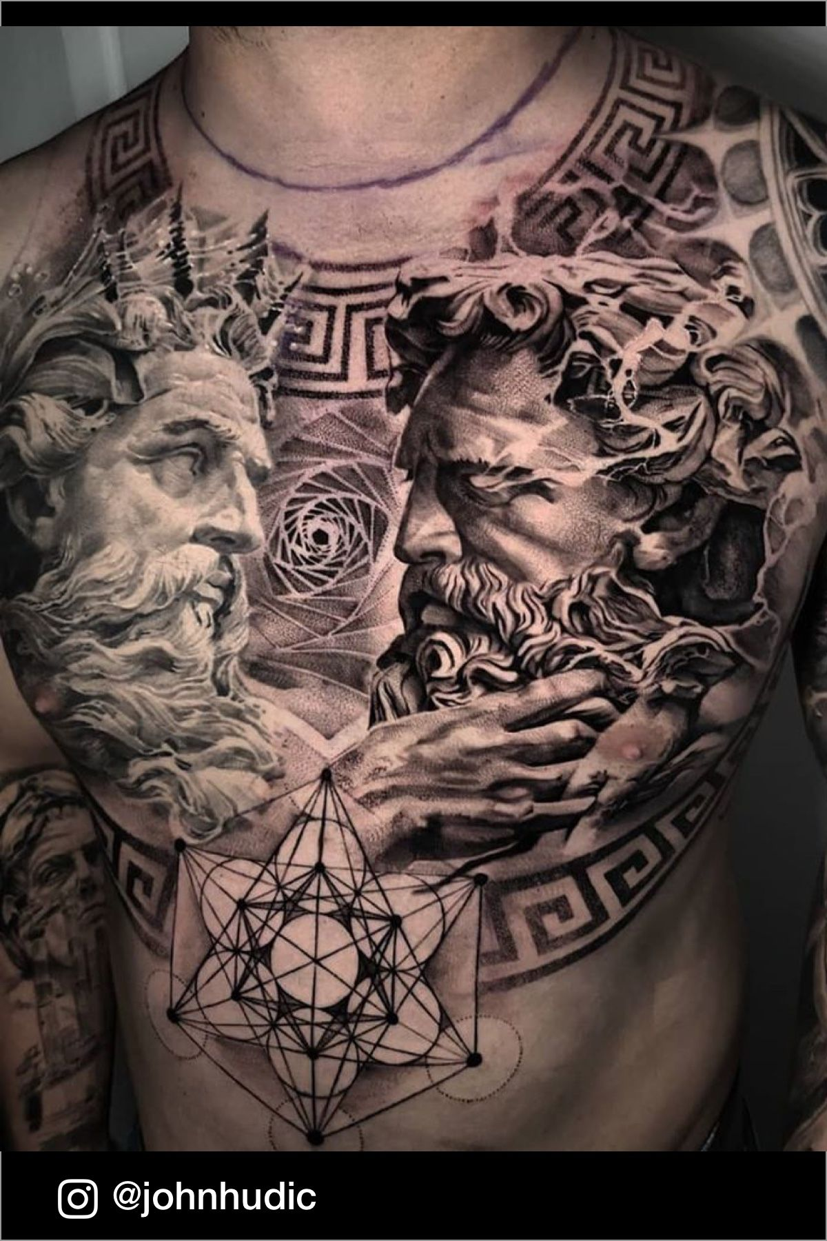 Realistic Black And Grey Zeus Chest Tattoo Made By John Hudic Tattoo Artist Based In Nice France In 2020 Zeus Tattoo Chest Tattoo Poseidon Tattoo