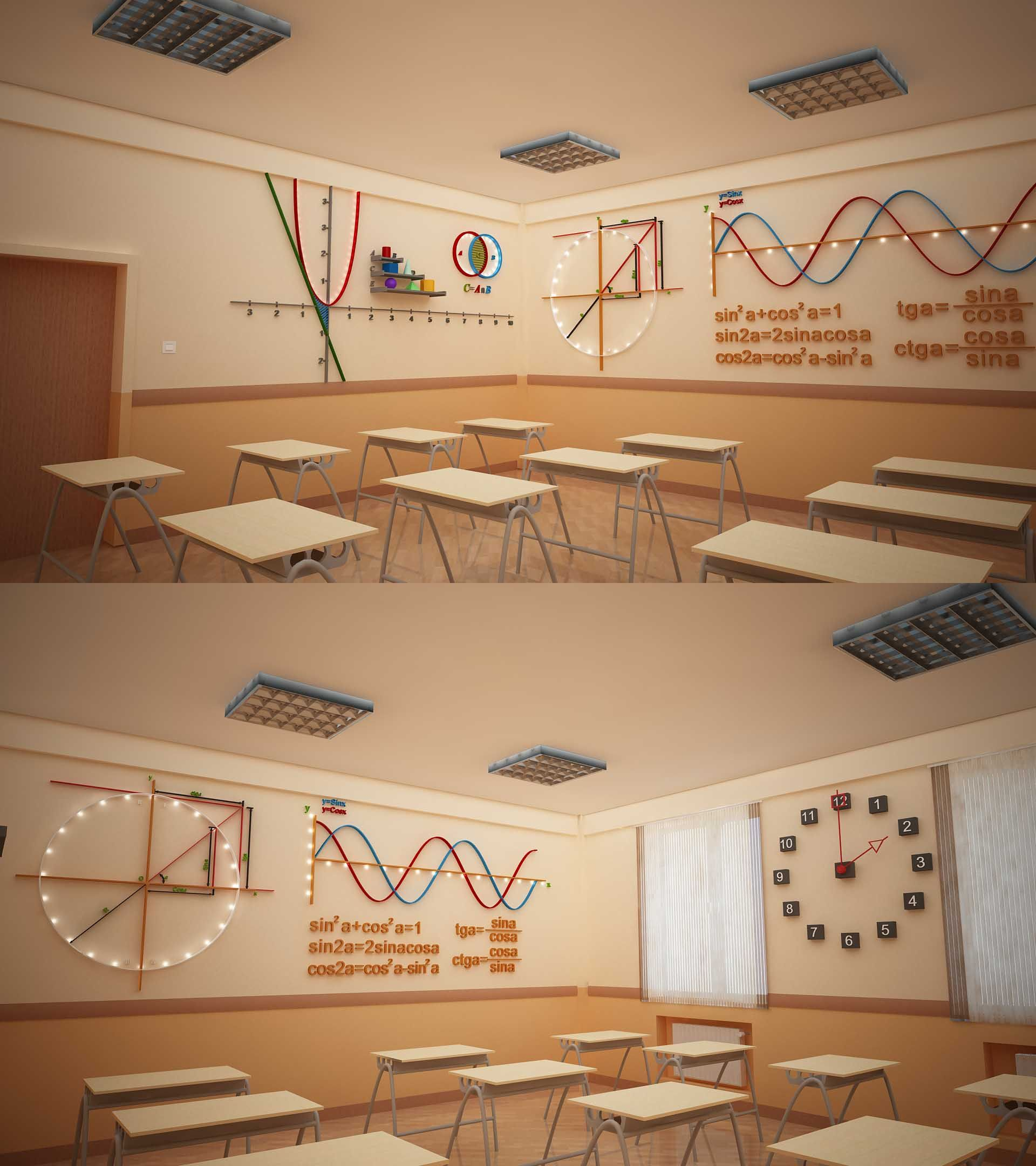 Classroom Wallpaper Design : Bms baku modern school math classroom design by