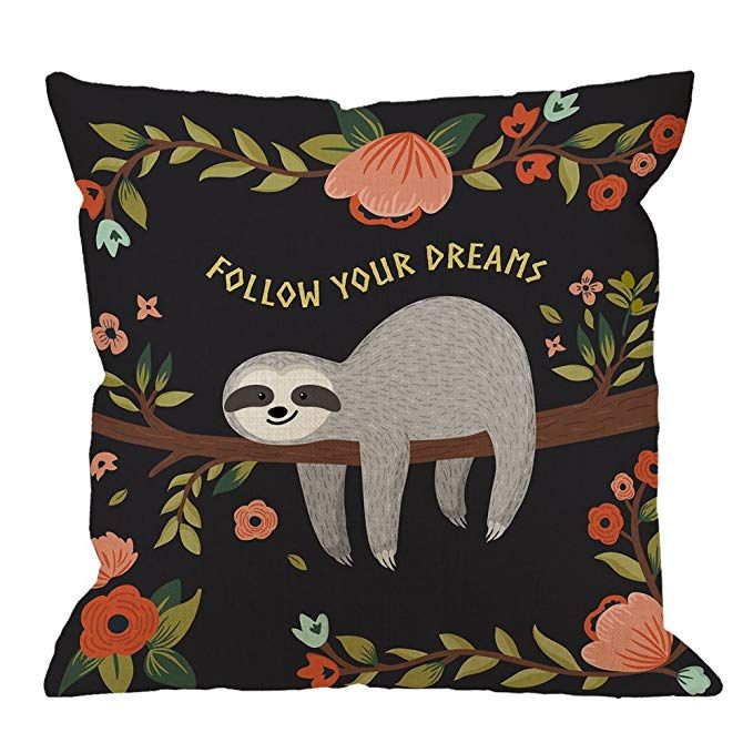 Sloth Throw Pillow Covers Decorative by HGOD Designs Follow Your Dreams Throw Pillow Cute Baby Sloth On The Tree Cotton Linen Square Pillow Case for Men/Women/18x18 inch Black Gray Review #babysloth