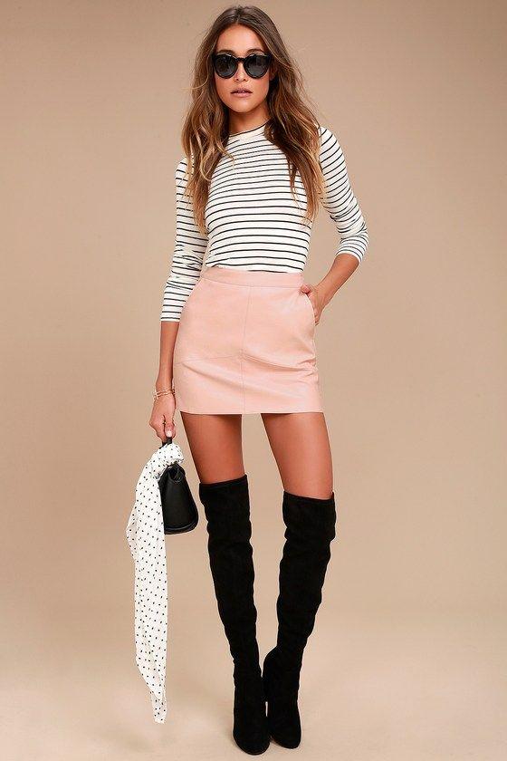 490107ef2 Harley Blush Pink Vegan Leather Mini Skirt   Nightlife   Mini skirts ...