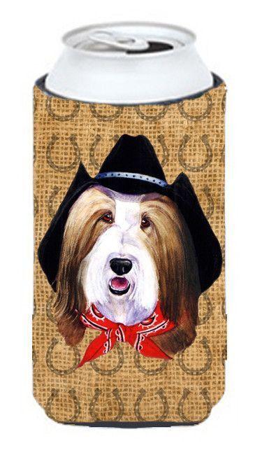 Bearded Collie Dog Country Lucky Horseshoe Tall Boy Beverage Insulator Beverage Insulator Hugger