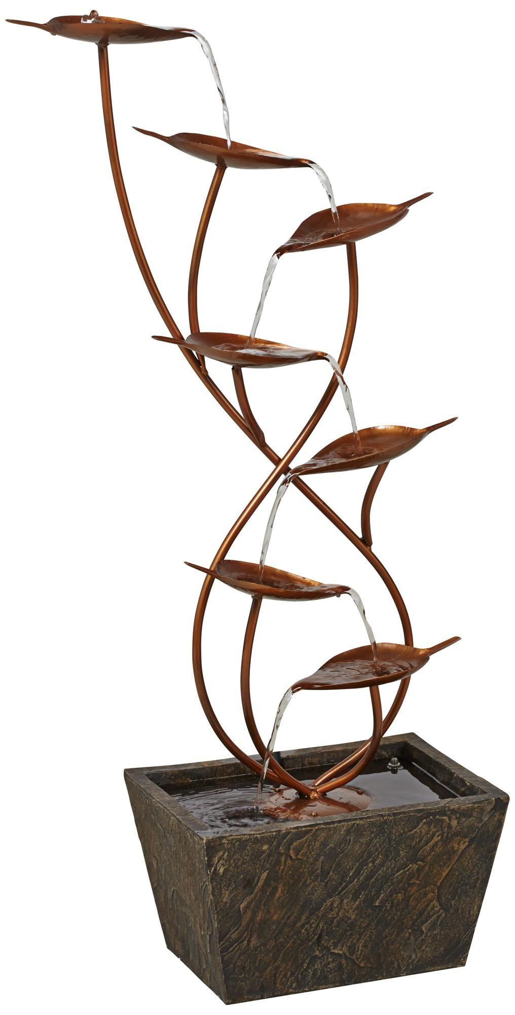 Ashton curved leaves 41 high copper finish floor fountain