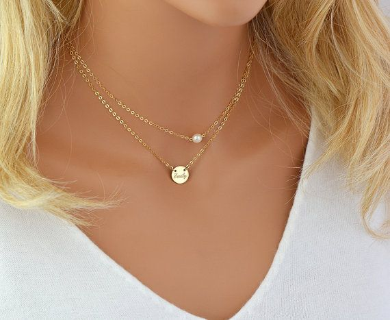 95c81968036cb Tiny Freshwater Pearl Necklace, Delicate Layered Necklace ...