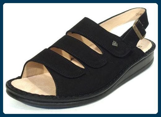 Damen Sandale SYLT schwarz 2509, 40, schwarz Nubuk Finn Comfort