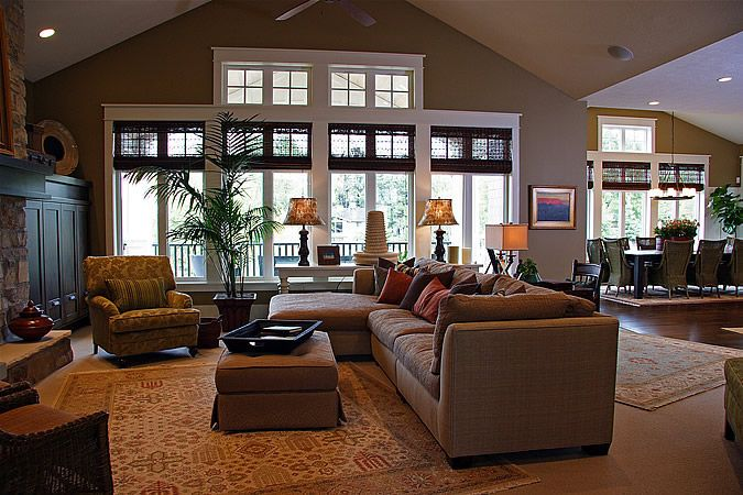 Layout Great Room Large Dinning Nook Kitchen To Right Lane Myers Construction Custom Home Builder Home Home Living Room Family Room