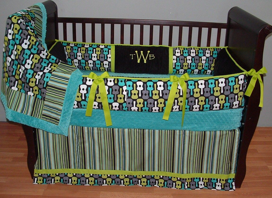 Wilson Baby Bedding This Custom  Pc Baby Crib Bedding Set Includes A Modern Plush Bumper Pad Detailed Tailored Crib Skirt And So Soft Teal Minky Edged